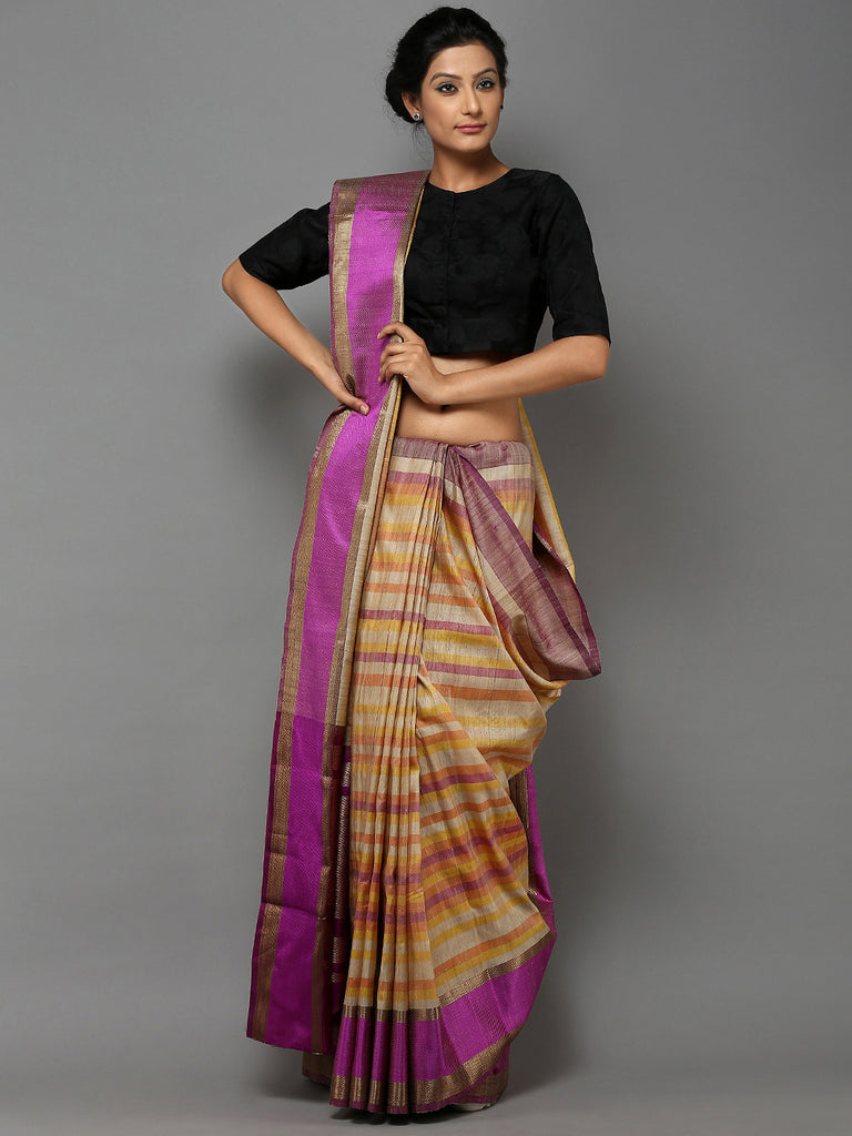 Purple Beige Striped Handwoven Banarasi Tusser Saree