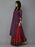 Purple Chanderi Kurta and Dupatta With Red Cambric Lehnga - Set of 3