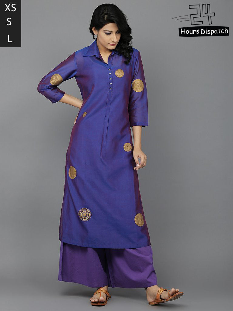 Purple Chanderi Kurta with Cambric Cotton Palazzo and Slip - Set of 3
