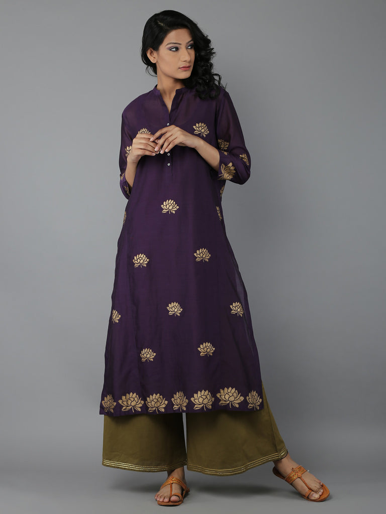 Purple Block Printed Chanderi Kurta with Cotton Slip