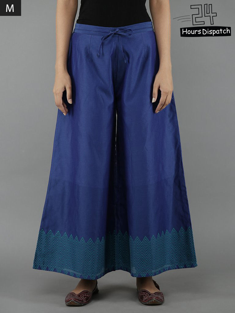 Blue Chanderi Palazzo with Cotton Lining
