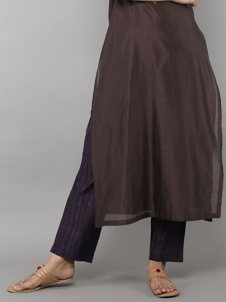 Purple Chanderi Pants with Cotton Lining