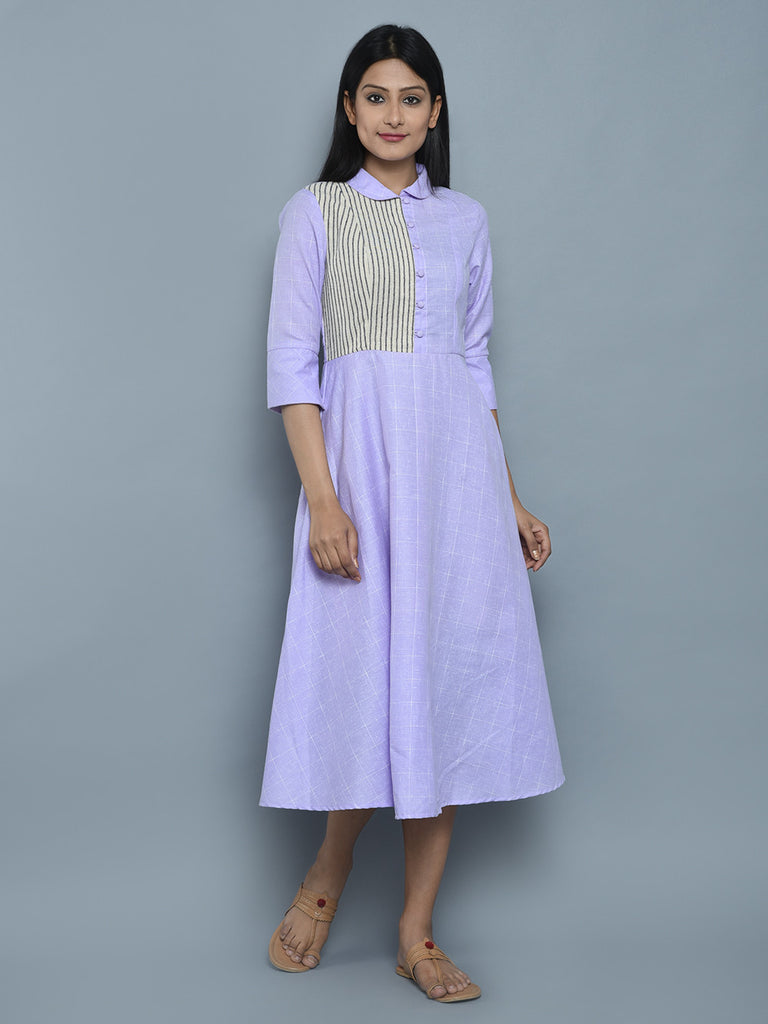Purple Cotton Midi Dress