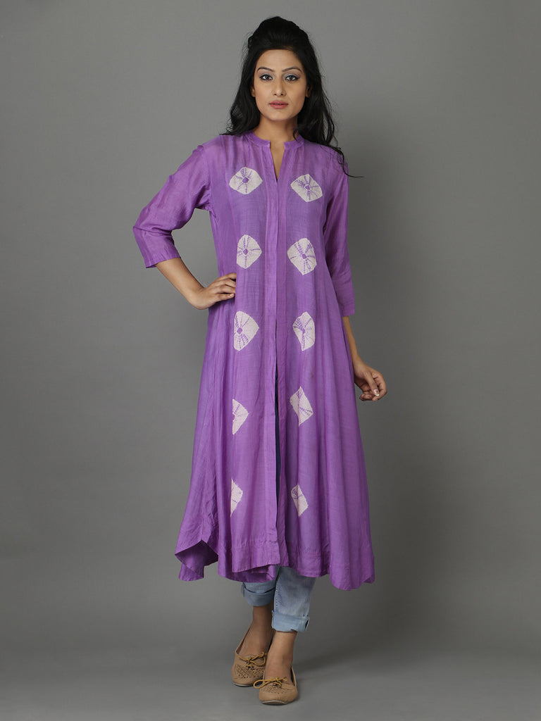 Purple Cotton Silk Bandhej Cape