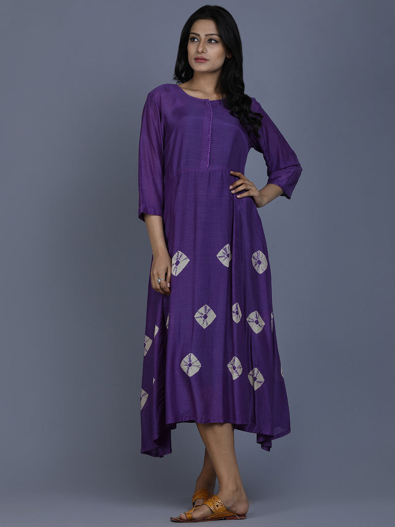 Purple Cotton Silk Bandhej Dress