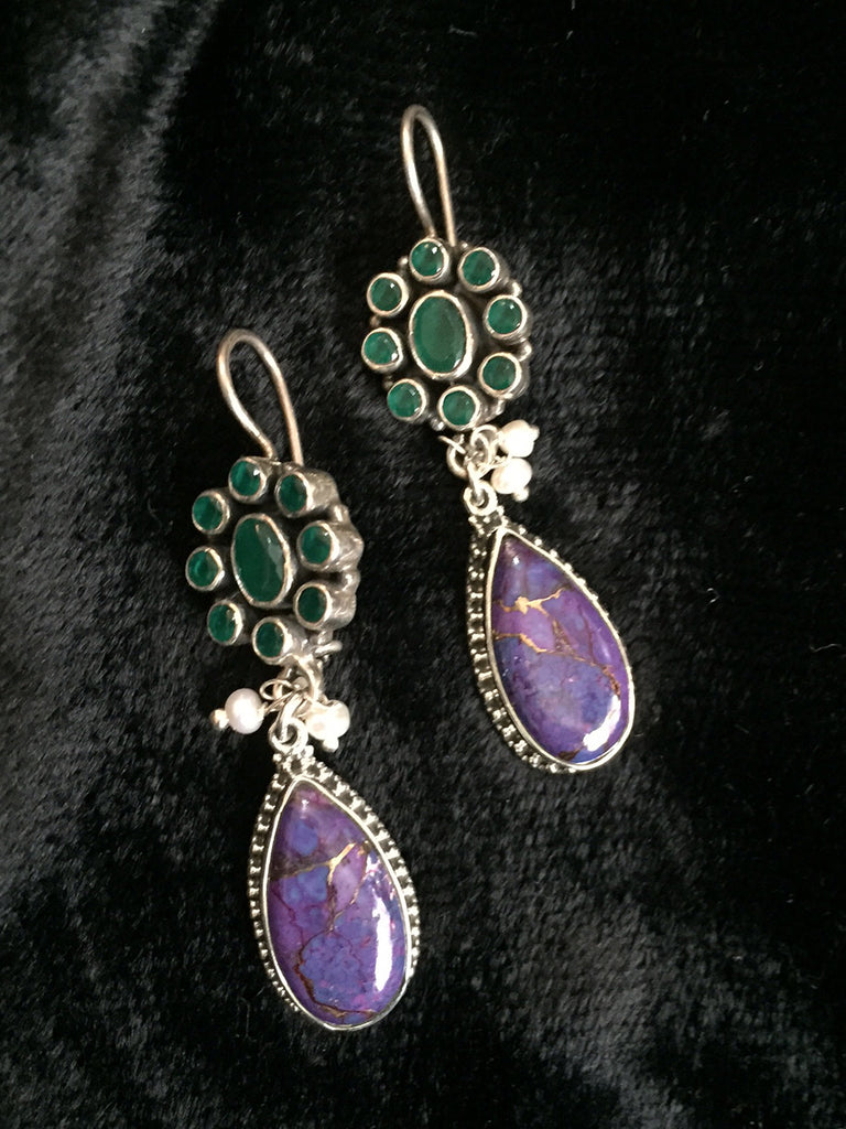 Purple Emerald Silver Earrings
