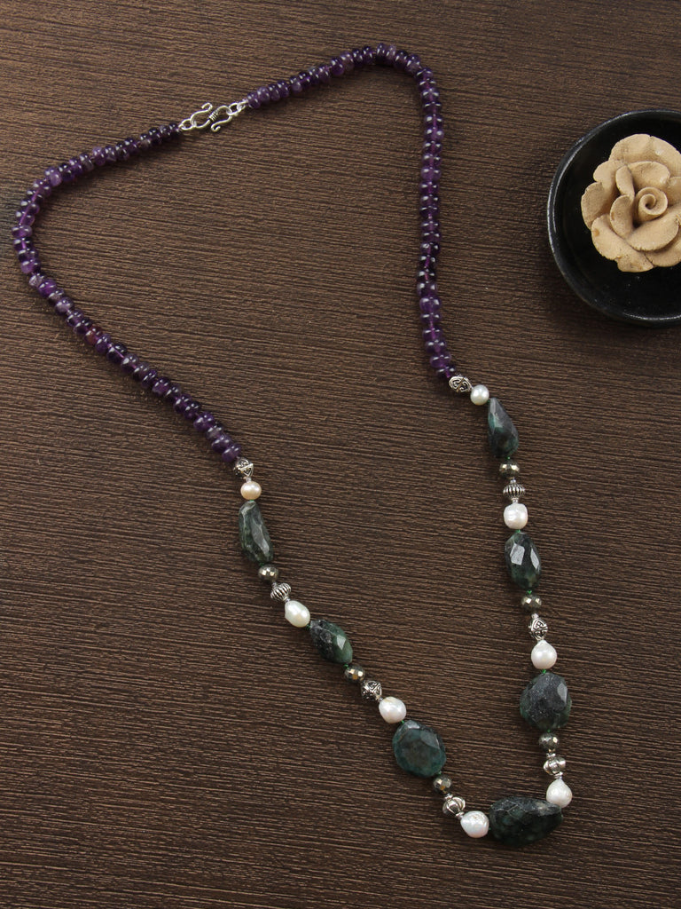 Purple Green Emerald, Baroque Pearl and Amethyst Single Strand Necklace
