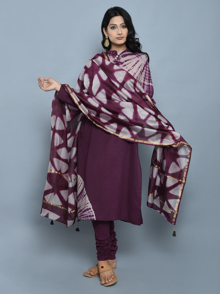 Purple Grey Tie and Dye Chanderi Dupatta