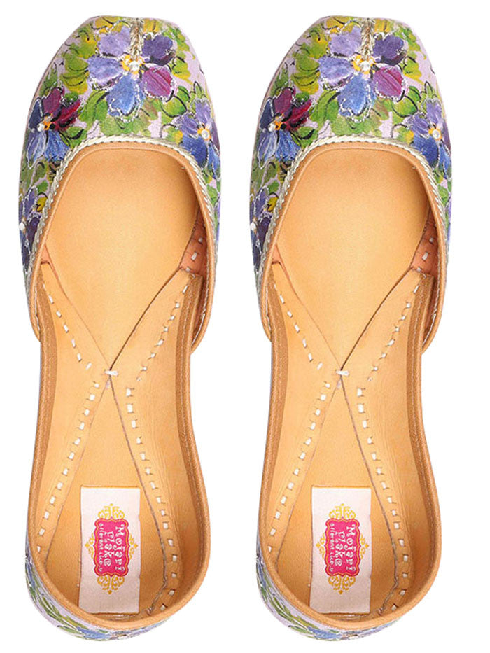 Purple Hand Painted Floral Leather Mojari