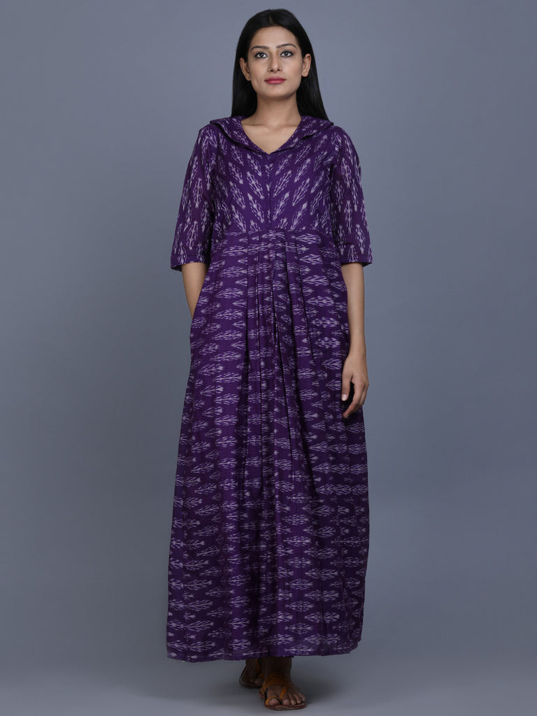 Purple Ikat Cotton Dress