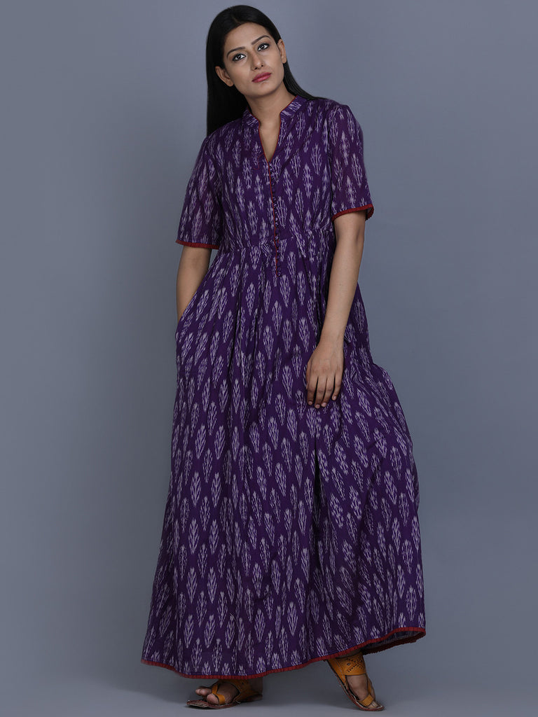 Purple Ikat Cotton Maxi Dress