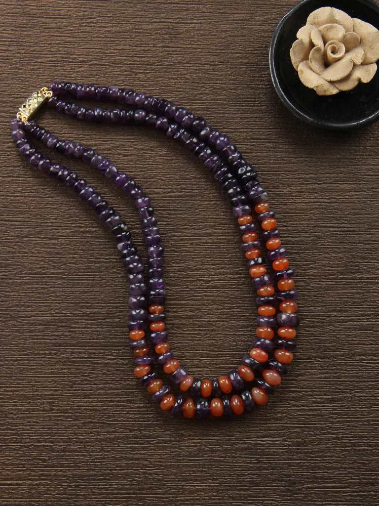 Purple Orange Amethyst and Carnelian String Necklace