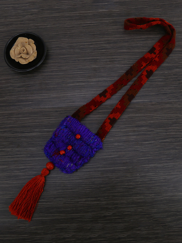 Purple Red Necklace with Tassel