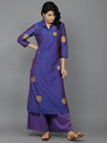 Purple Shot Chanderi Kurta with Wine cambric Palazzo - Set of 2