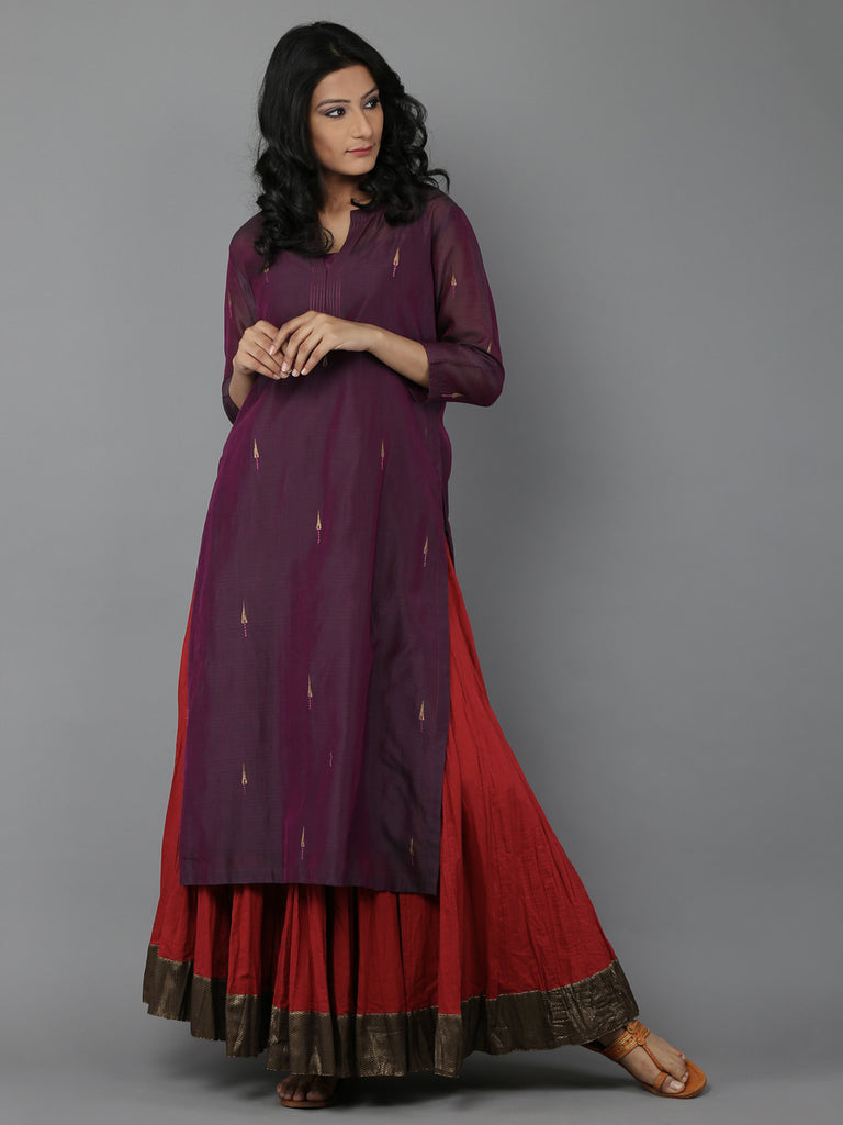 Purple Shot Quilted Long Slit Chanderi Kurta