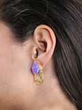 Purple Filigree Druzy Studs