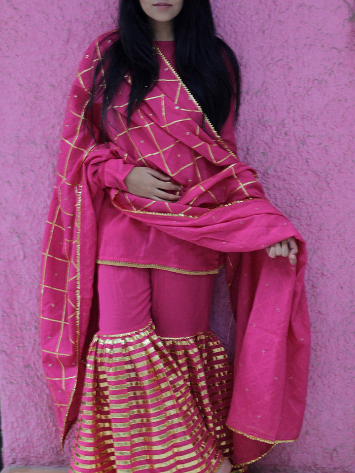 Magenta - Pink Cotton Stripes Sharara