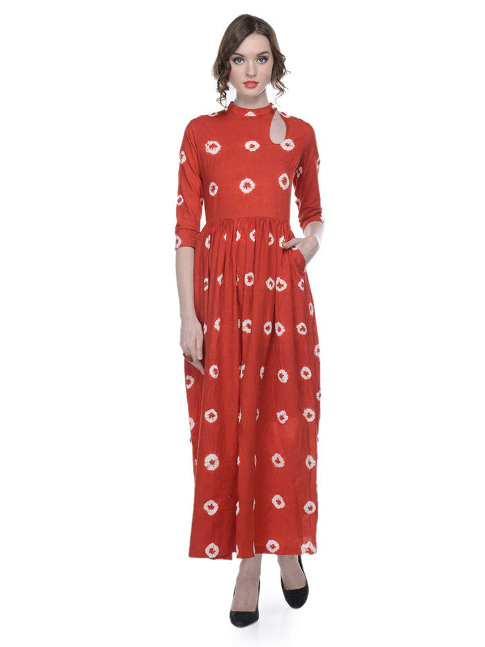 Red Tie and Dye Cotton Maxi