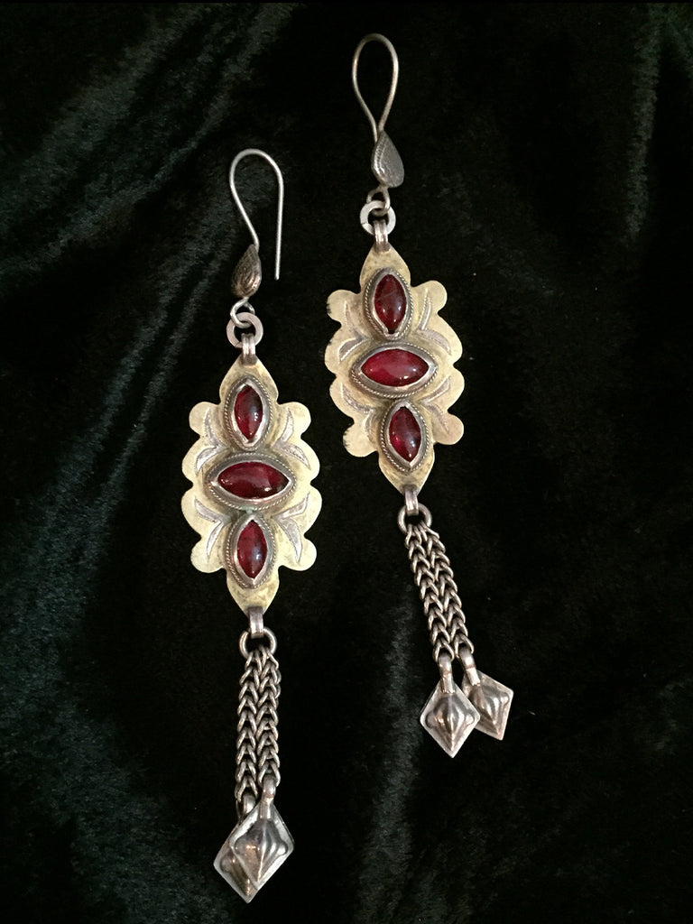 Red Afgani Silver Earrings