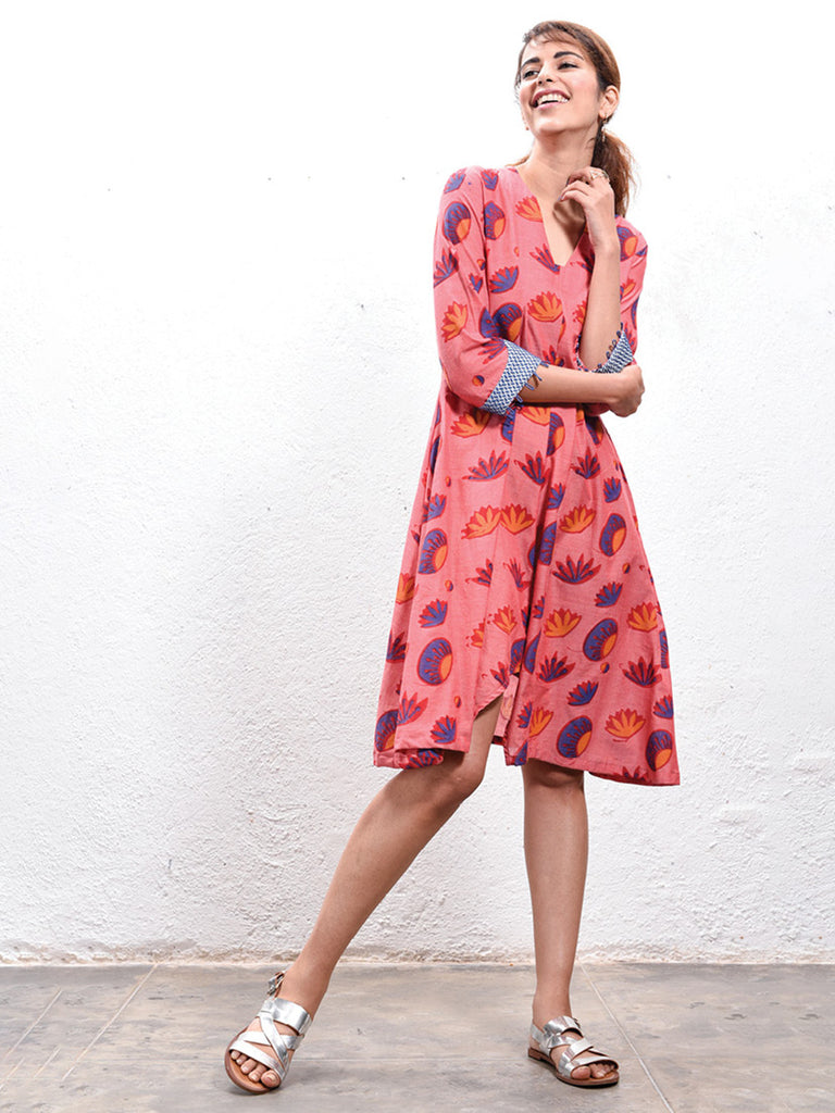 Red Anti Fit Hand Block Printed Cotton Dress