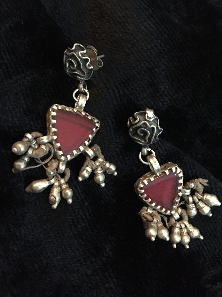 Red Antique Glass Silver Earrings