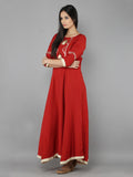 Red Beige Cotton Silk Long Dress with Chanderi Dupatta