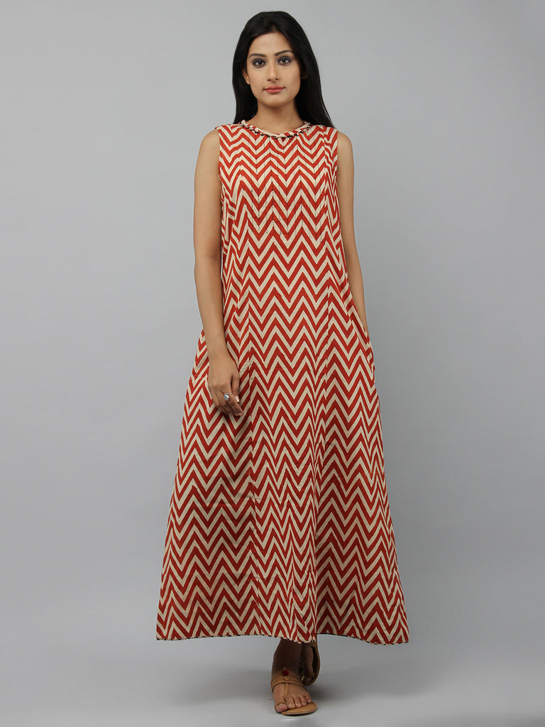 Red Beige Hand Block Printed Cotton Maxi Dress