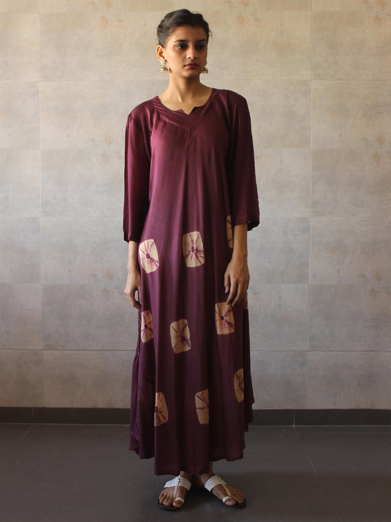 Violet Beige Cotton Silk Bandhej Dress
