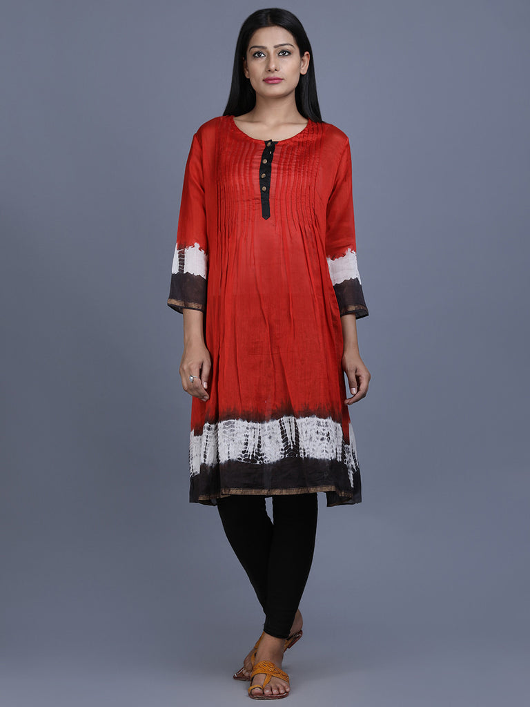 Red Black Chanderi Silk Shibori Dye Tunic
