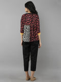 Red Black Cotton Hand Block Printed Top