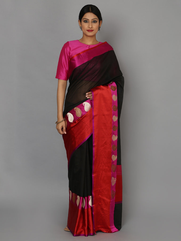 Red Black Hand Woven Banarasi Cotton Silk Saree