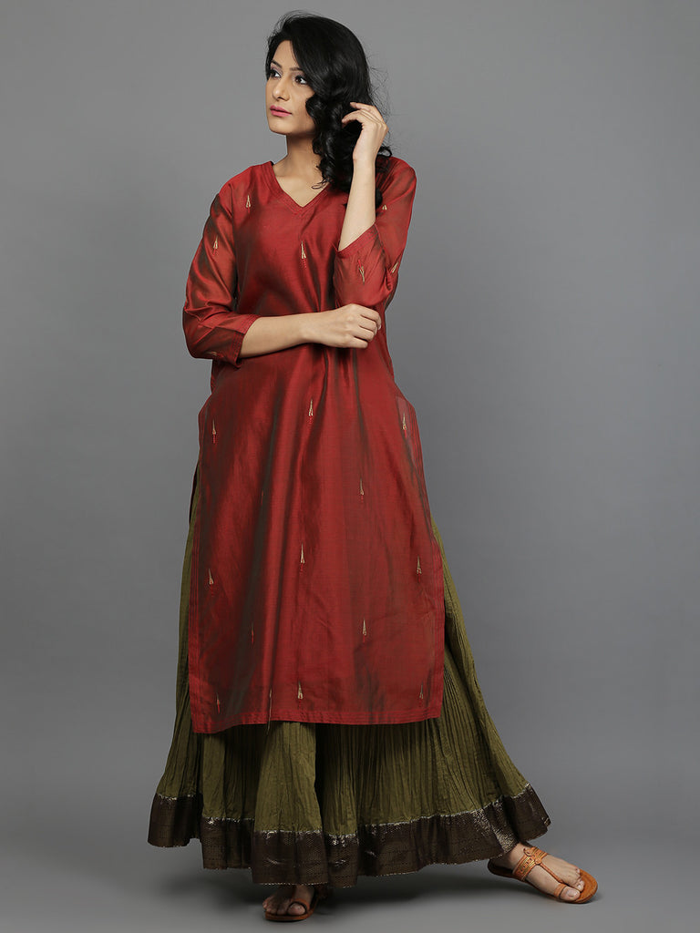 Red Chanderi Kurta With Green Cambric Cotton Lehenga and Slip - Set of 3