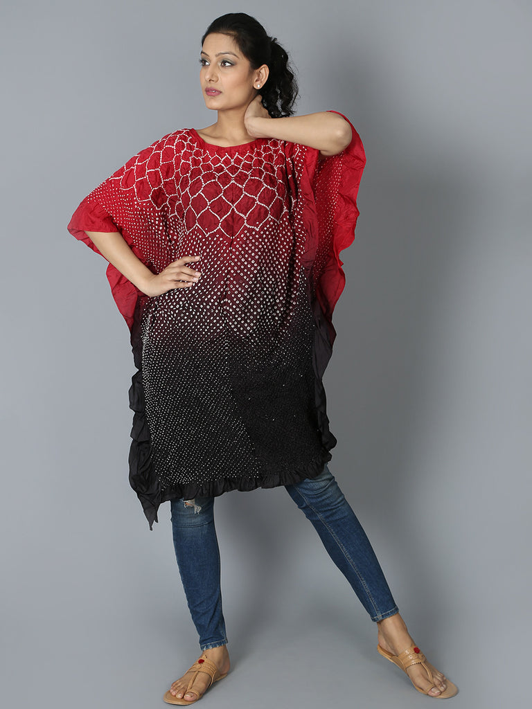 Red Black Silk Flower Kaftan