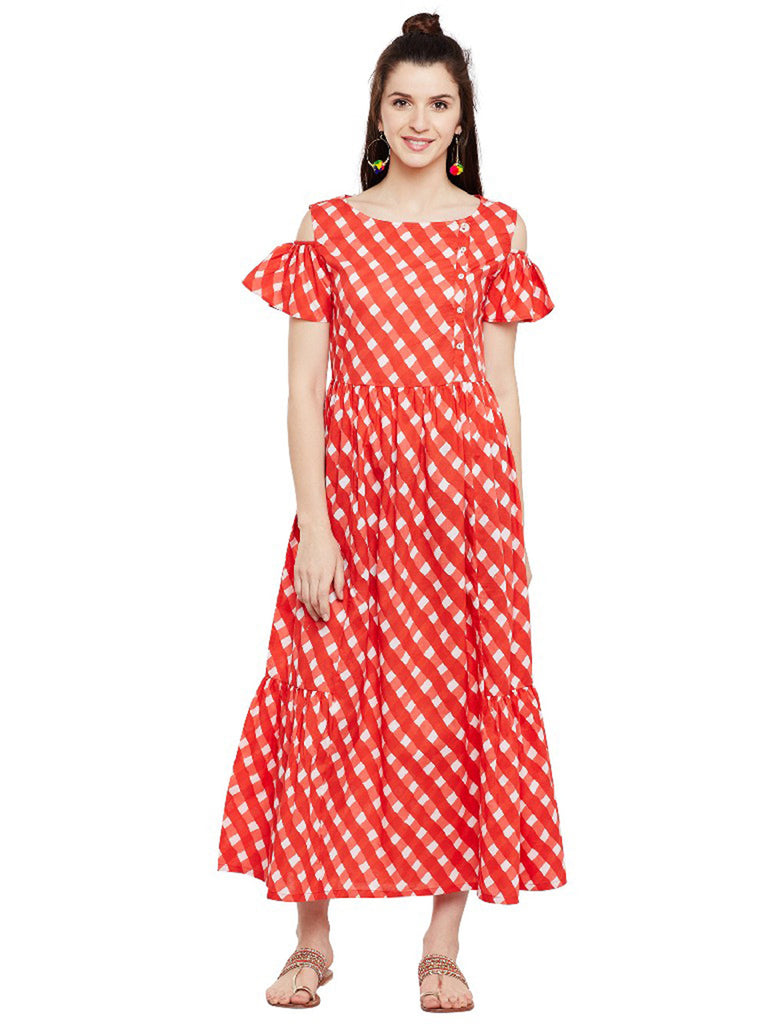 Red Block Printed Cotton Cold Shoulder Dress
