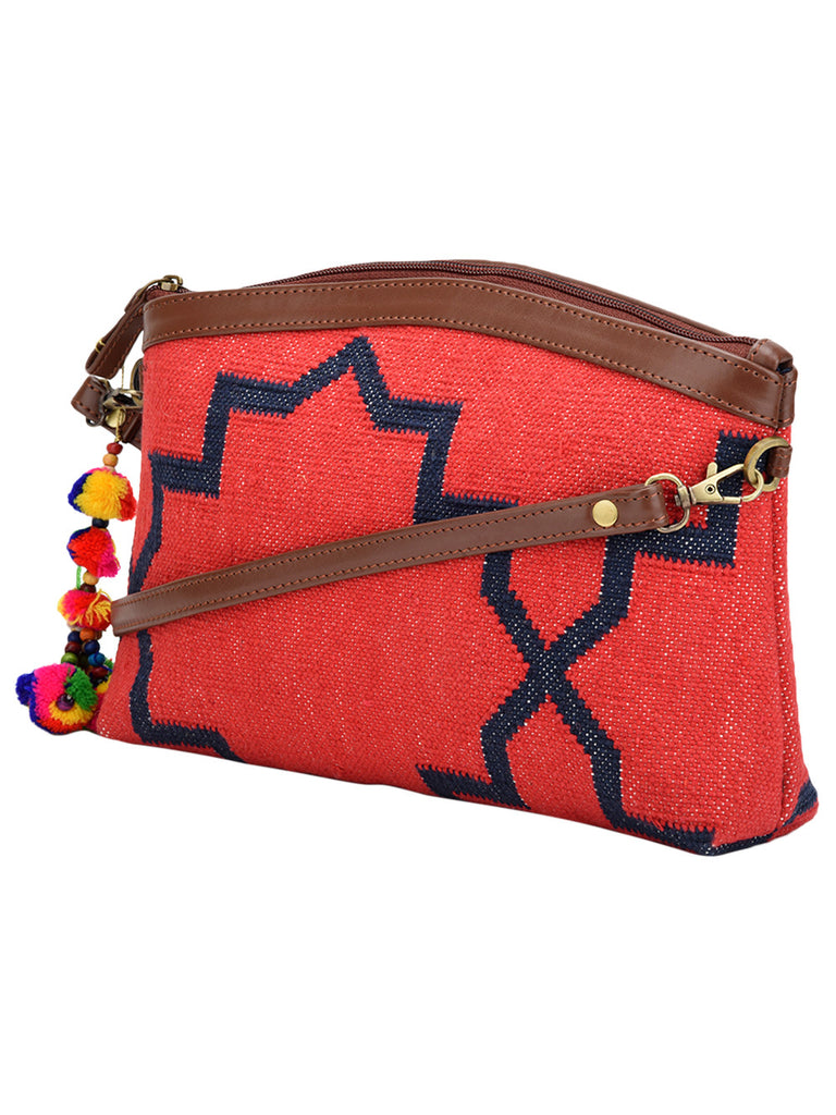 Red Blue Cotton Kilim with Faux Leather Jharokha Sling Bag