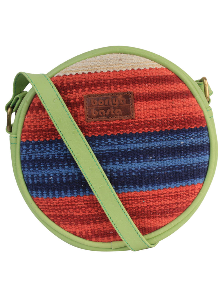Red Blue Green Cotton Kilim Faux Leather Round Bag
