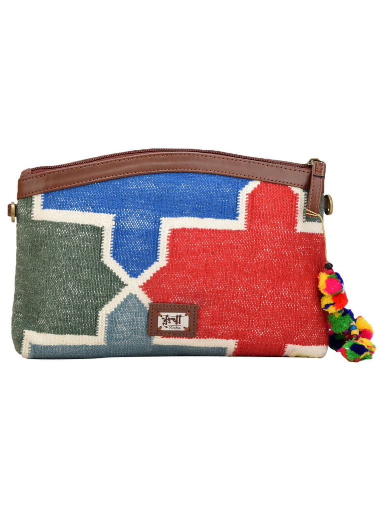 Red Blue Grey Cotton Kilim with Faux Leather Candy Sling Bag