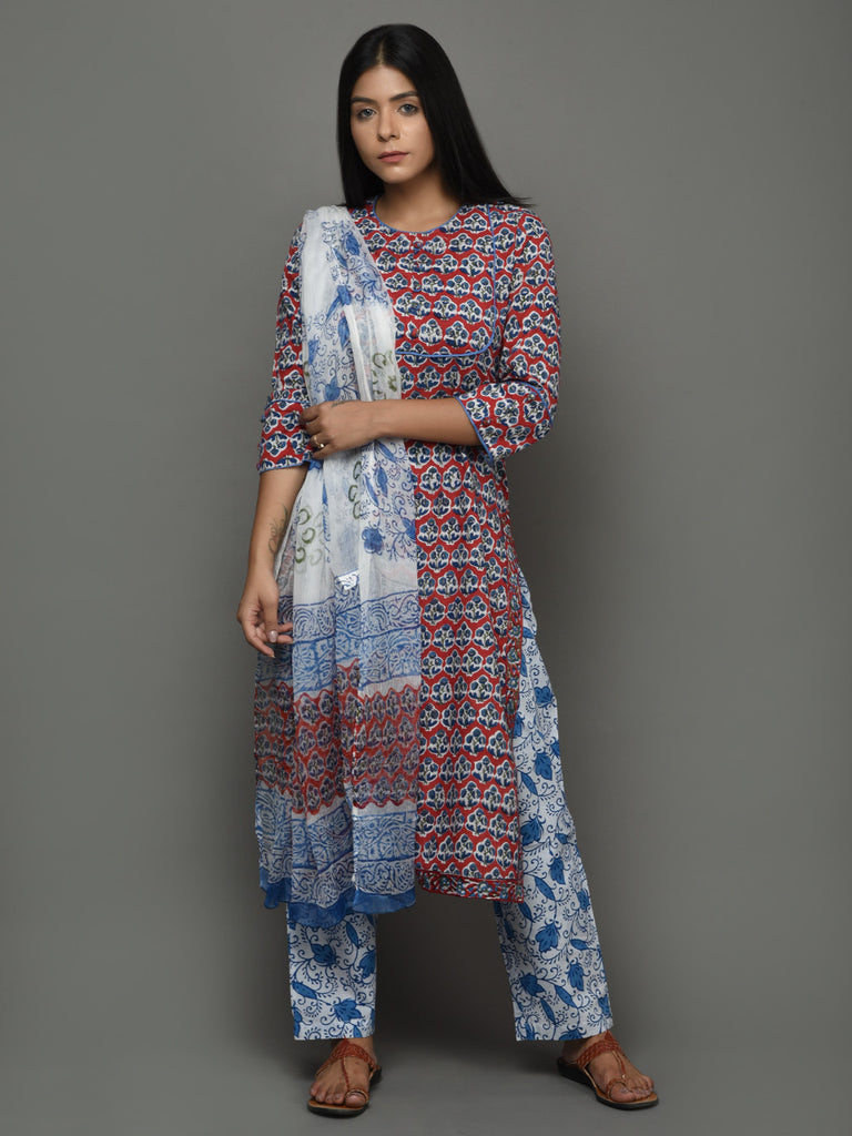 Red Blue Hand Block Printed Cotton Kurta with Pants and Chiffon Dupatta - Set of 3