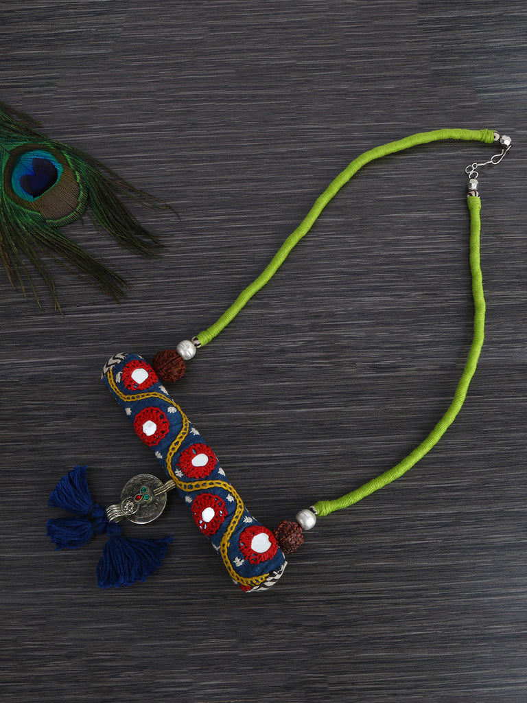 Red Blue Thread Coin Kutch Work Hand Crafted Necklace