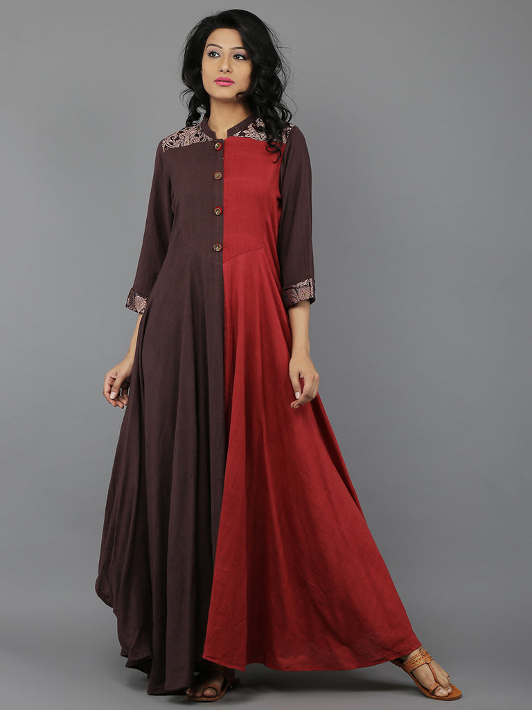 Red Brown Khadi Dress with Banarasi Border