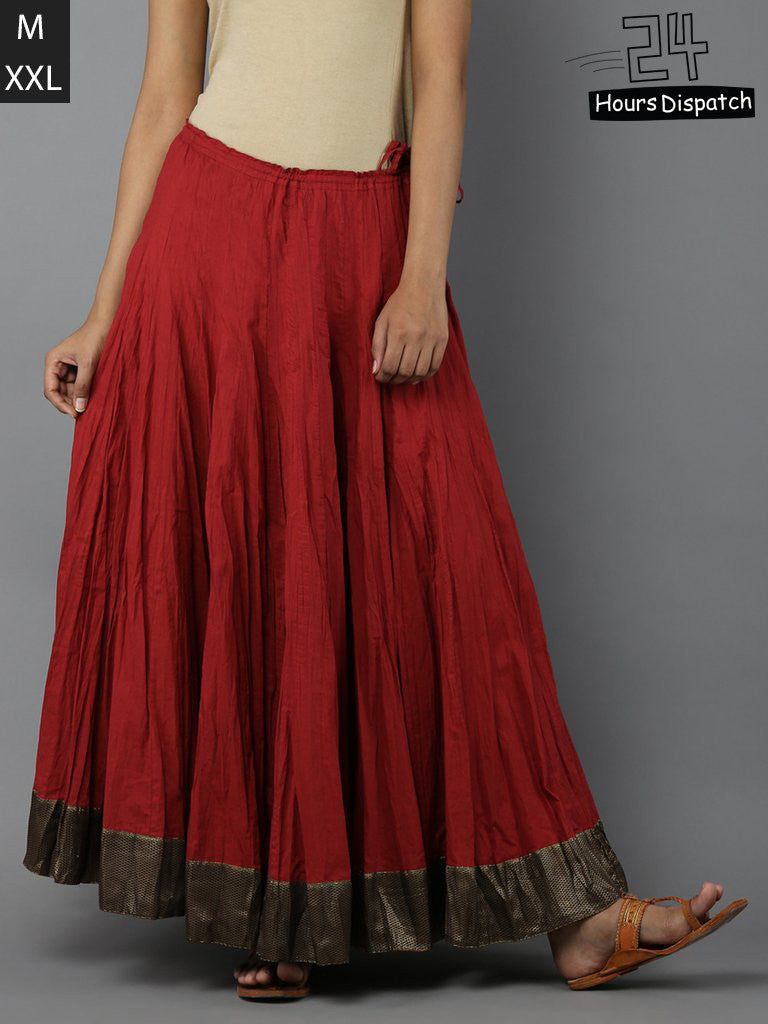 Red Cambric Cotton Lehenga