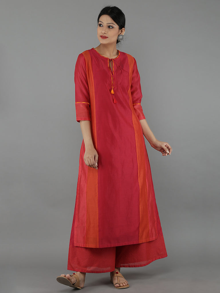 Red Chanderi Color Block Kurta with Cotton Slip
