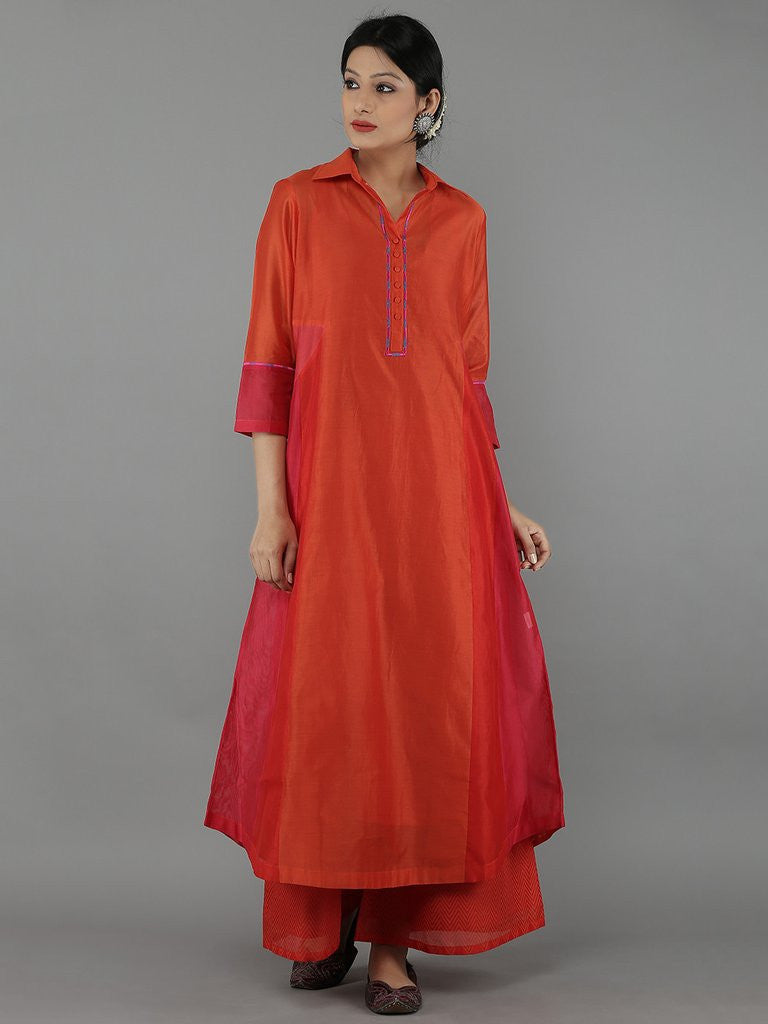 Red Color Block Chanderi Kurta with Cotton Slip
