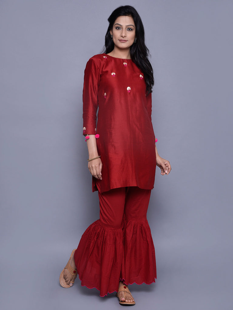 Red Chanderi Embroidered Kurta