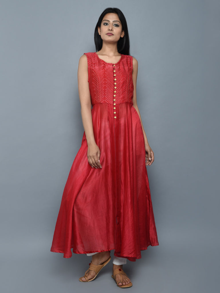 Red Chanderi Front Open Long Kurta