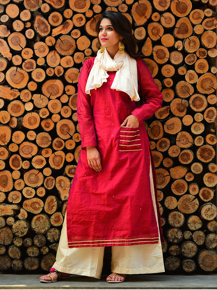 Red Chanderi Gota Embellished Kurta