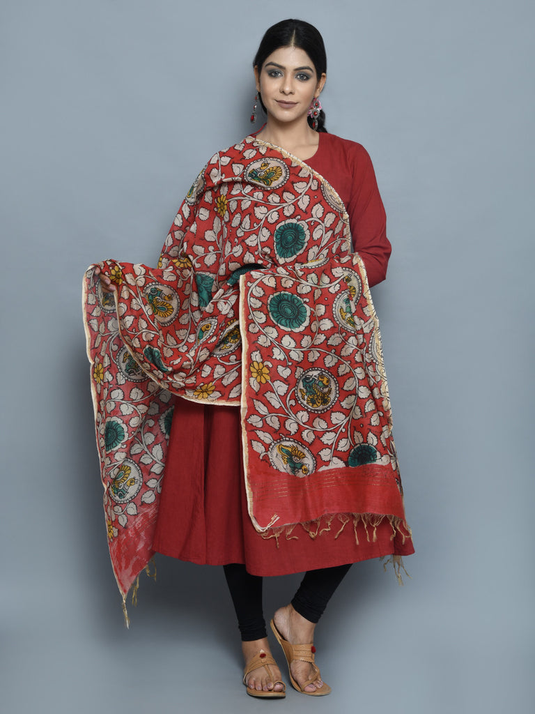 Red Peacock Chanderi Hand Painted Kalamkari Dupatta