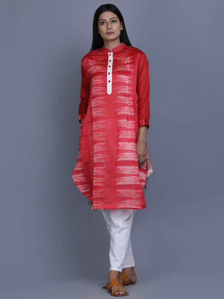 Red Chanderi Silk Shibori Dye Tunic