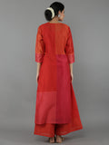 Red Color Blocked Chanderi Kurta with Cotton Slip