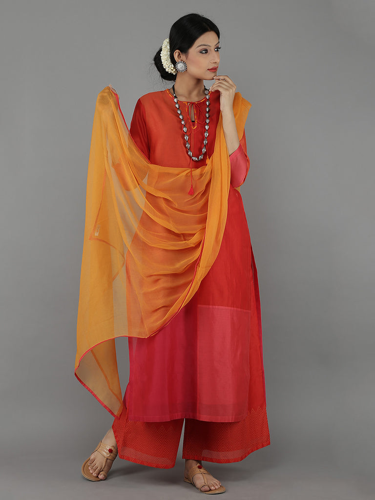 Red Chanderi Kurta and Palazzo with Yellow Chiffon Dupatta - Set of 4